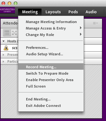 Adobe Connect Meeting toolbar with Meeting option selected.