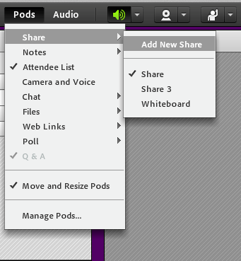 Adobe Connect toolbar with Pods option selected.