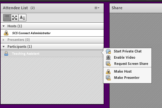"Adobe Connect Attendee List pod with ""Make Host"" option shown."