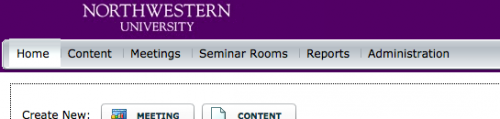 Northwestern University Adobe Connect menu bar