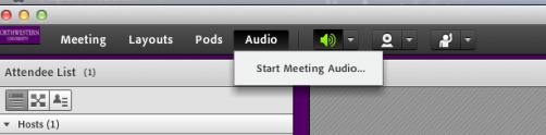 Adobe Connect meeting toolbar with Audio selected, showing a Start Meeting Audio option.