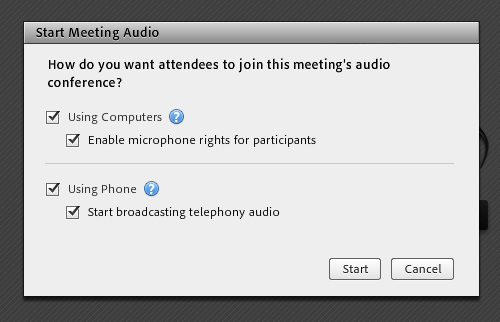 Start Meeting Audio pop-up window with all audio options checked.
