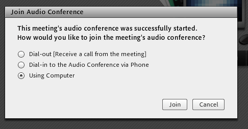 Join Audio Conference pop-up with Using Computer option selected.