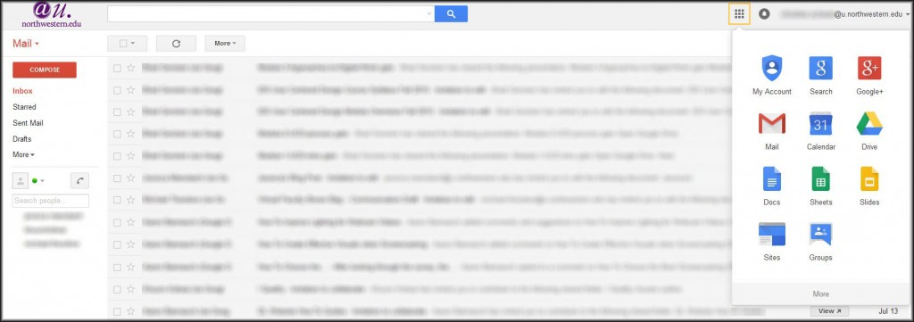 Gmail inbox with Apps icon highlighted and opened.
