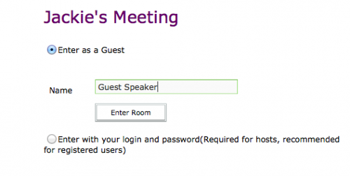 Adobe Connect Guest log-in screen with Guest Speaker as the username