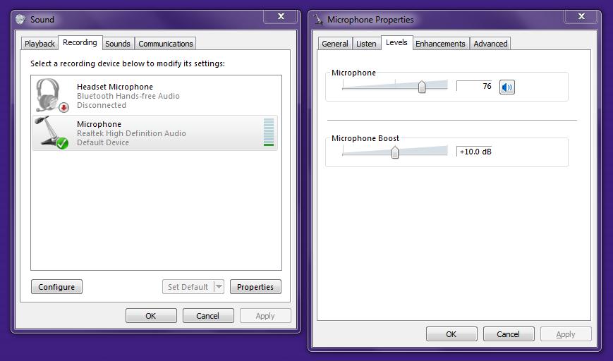 Windows Sound Input Settings