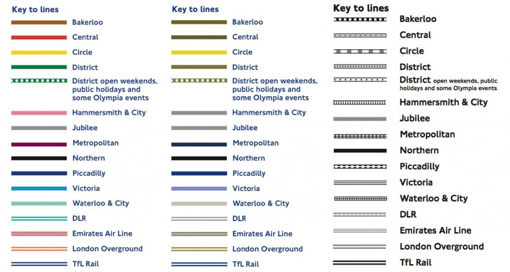 London Tube Map in full color, colorblind demonstration, and black and white.