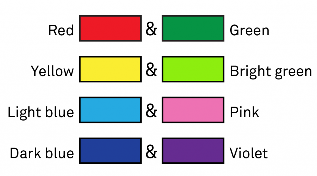 Chart showing commonly confused colors: red and green, yellow and light green, light blue and pink, and dark blue and violet.