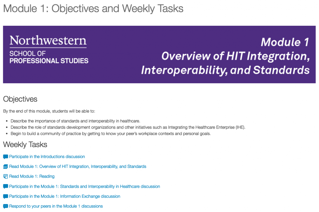 Course objectives and weekly task list, including icons for each task.