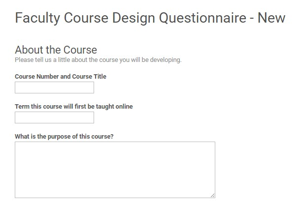 Faculty course design questionnaire on Google Forms.
