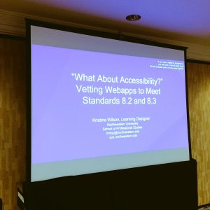 "Slide reading ""What About Accessibility? Vetting Apps to Meet Standards 8.2 and 8.3."""